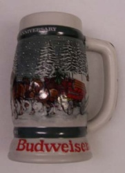 1982 Budweiser Holiday Beer Stein