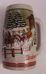 1984 Budweiser Holiday Beer Stein