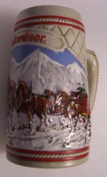 1985 Budweiser Holiday Beer Stein