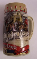 1986 Budweiser Holiday Beer Stein