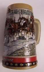 1988 Budweiser Holiday Beer Stein