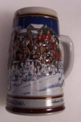 1989 Budweiser Holiday Beer Stein