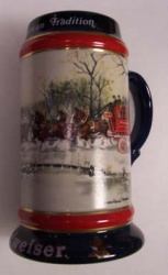 1990 Budweiser Holiday Beer Stein