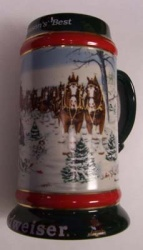 1991 Budweiser Holiday Beer Stein