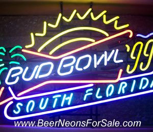Budweiser Bud Bowl 1999 South Florida Neon Beer Bar Sign Light