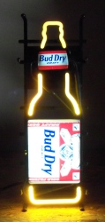 Bud Dry Draft Beer Bottle Neon Sign