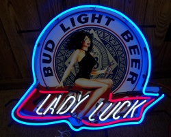Bud Light Beer Lady Luck Neon Sign  MY BEER SIGN COLLECTION – Not for sale but can be bought… budlightladyluck