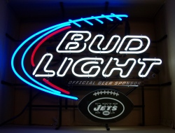 Bud Light Beer NFL Jets Neon Sign