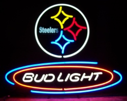 Bud Light NFL Pittsburgh Steelers Neon Beer Bar Sign #2: budlightnflpittsburghsteelers 1