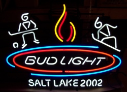 Bud Light Beer Salt Lake Olympics Neon Sign  MY BEER SIGN COLLECTION – Not for sale but can be bought… budlightsaltlakecity2002