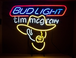 Bud Light Beer Tim McGraw Neon Sign  My Beer Sign Collection – Not for sale but can be bought… budlighttimmcgraw