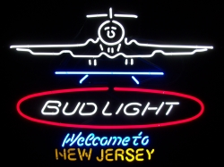 Bud Light Beer New Jersey Airport Neon Sign  MY BEER SIGN COLLECTION – Not for sale but can be bought… budlightwelcometonewjersey