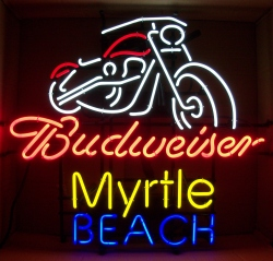 Budweiser Beer Myrtle Beach Bike Week Neon Sign  MY BEER SIGN COLLECTION – Not for sale but can be bought… budweiserbikemyrtlebeach