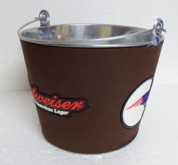 Budweiser Bud Light NFL New England Patriots Leather Beer Bar Tin Bucket
