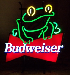 Budweiser Beer Frog Neon Sign  MY BEER SIGN COLLECTION – Not for sale but can be bought… budweiserfrogpanel