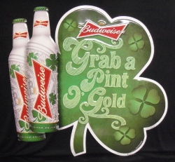 Budweiser Grab A Pint O Gold Shamrock Beer Bar Tin Tacker Sign  Budweiser Grab A Pint O Gold Shamrock Beer Bar Tin Tacker Sign budweisergrabapintogoldshamrocktin