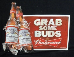 Budweiser Beer Grab Some Buds Tin Sign