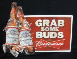 Budweiser Grab Some Buds Bottles Beer Bar Tin Tacker Sign budweiser tin sign Budweiser Tin Sign budweisergrabsomebudsbottlestin2011