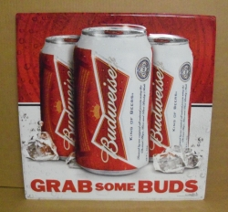 "Budweiser Beer Grab Some Buds Tin Sign NEW 2012 (21½""w x 21½""h) This Budweiser Beer tin sign is the can version of the current ""Grab Some Buds"" promotion. I also have the bottle version available. Grab one of these factory fresh tackers for your man cave. 6 available."