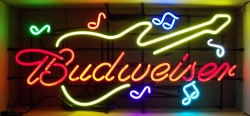Budweiser Beer Guitar Neon Sign  MY BEER SIGN COLLECTION – Not for sale but can be bought… budweiserguitarmusicnotes