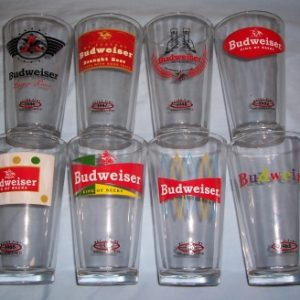 Budweiser History Beer Bar Pint Glass Set of 8