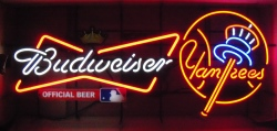 Budweiser Beer MLB NY Yankees Neon Sign  MY BEER SIGN COLLECTION – Not for sale but can be bought… budweisernyyankees2013