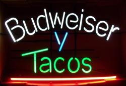Budweiser Tacos Neon Beer Bar Sign Light budweiser beer tacos neon sign Budweiser Beer Tacos Neon Sign budweisertacos
