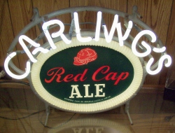 Carling's Red Cap Ale Neon Beer Bar Sign Light  MY BEER SIGN COLLECTION – Not for sale but can be bought… carlingsredcapale