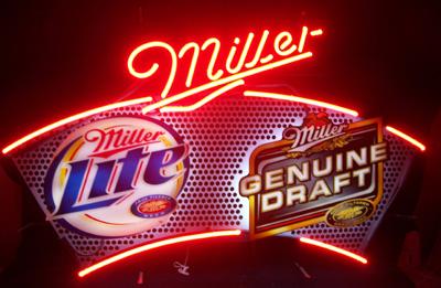 Lite MGD Dual Branded Neon Beer Bar Sign Light No Ship #0: litemgddualbrandedused