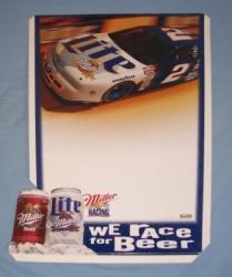 Lite Miller Rusty Wallace Cardboard POS Beer Bar Sign