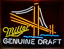 Miller Genuine Draft Beer Bridge Neon Sign