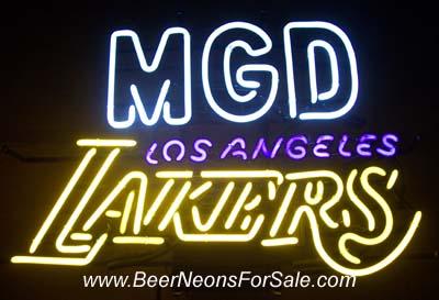 MGD Los Angeles Lakers NBA Neon Beer Bar Sign Light miller genuine draft beer nba lakers neon sign Miller Genuine Draft Beer NBA Lakers Neon Sign mgdlalakers