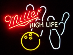 Miller High Life Bowling Neon Beer Bar Sign Light beer sign collection My Beer Sign Collection 2 – Not for sale but can be bought… millerhighlifebowling