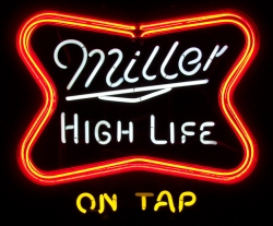 Miller High Life Beer Neon Sign beer sign collection My Beer Sign Collection 2 – Not for sale but can be bought… millerhighlifeontap