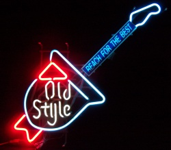 Old Style Guitar Neon Beer Bar Sign Light beer sign collection My Beer Sign Collection 2 – Not for sale but can be bought… oldstyleguitar