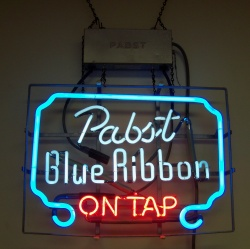 Pabst Blue Ribbon On Tap Neon Beer Bar Sign Light beer sign collection MY BEER SIGN COLLECTION 2 – Not for sale but can be bought… pabstblueribbonontapmine