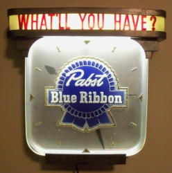 Pabst Blue Ribbon What'll You Have? Beer Bar Clock Sign Light beer sign collection MY BEER SIGN COLLECTION 2 – Not for sale but can be bought… pabstblueribbonwhatllyouhaveclock