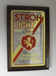 Stroh Light NOS Vintage Beer Bar Mirror Stroh Light NOS Vintage Beer Bar Mirror Stroh Light NOS Vintage Beer Bar Mirror strohlight1981mirrornos