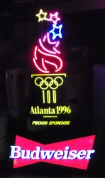 MY BEER SIGN COLLECTION – Not for sale but can be bought… budweiserolympictorchatlanta