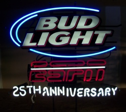 bud light beer espn neon sign