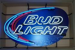 bud light beer splash neon sign