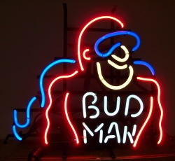 Budweiser Beer Bud Man Neon Sign  MY BEER SIGN COLLECTION – Not for sale but can be bought… budman1991