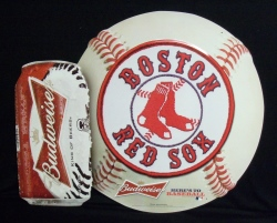 Budweiser MLB Boston Red Sox Beer Bar Tin Tacker Sign #1: budweiserbostonredsoxtin