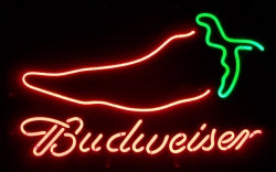 Budweiser Beer Chili Pepper Neon Sign  MY BEER SIGN COLLECTION – Not for sale but can be bought… budweiserchilipepper