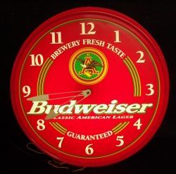 Budweiser Beer Bar Sign Lighted Clock
