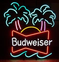 Budweiser Double Palm Neon Beer Bar Sign Light