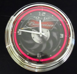 Budweiser Beer Motorcycle Neon Clock