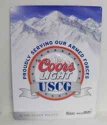 Coors Light Armed Forces Uscg Beer Bar Tin Tacker Sign