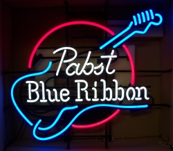 Pabst Blue Ribbon Beer Guitar Neon Sign