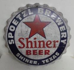 Shiner Beer Cap Tin Sign